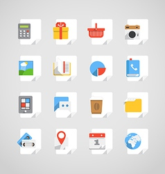 Different application icons set on paper sheets vector