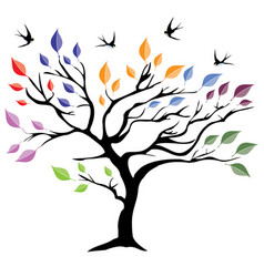 tree with colorful leaves vector image