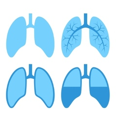 Human lung icons set vector