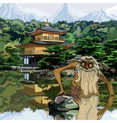 Water goblin in the lake at the temple pagoda vector