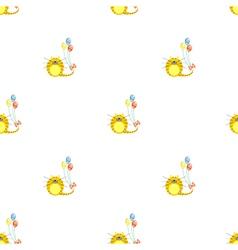Seamless pattern with animals cute symmetrical cat vector