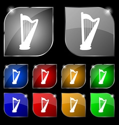 Harp icon sign set of ten colorful buttons with vector