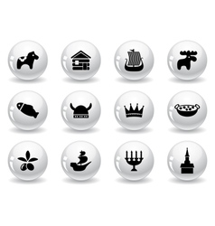 Web buttons swedish icons vector image