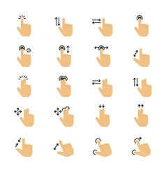 Hand gesture flat color icons vector