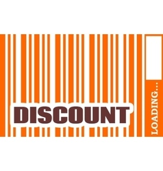 Discount word build in bar code vector