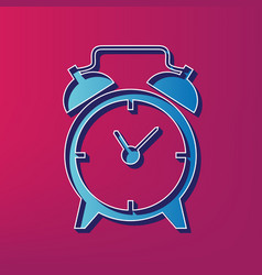 Alarm clock sign blue 3d printed icon on vector