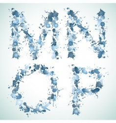 Alphabet water drop mnop vector image vector image