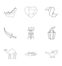 Arab Emirates set icons in outline style Big vector image vector image