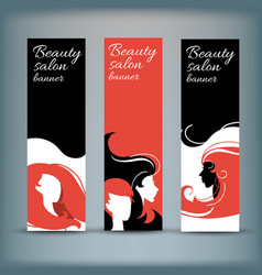 Banner set with stylish woman silhouette vector