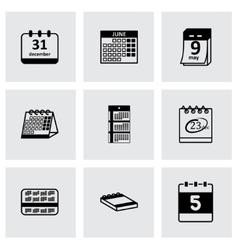 black calendar icons set vector image vector image
