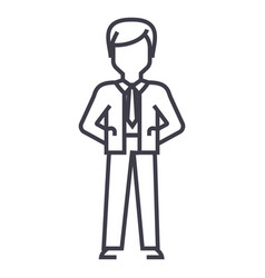 businessman with hands back line icon sign vector image vector image