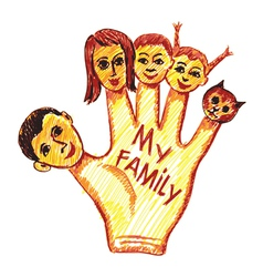 childs drawing of my family vector image vector image
