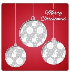 Christmas card with balls cut from paper classic vector