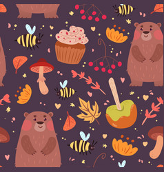 Cute bears and food pattern vector