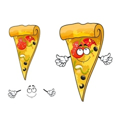 Cute cartoon thin slice of pizza character vector image vector image