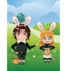 Easter Boy and Girl2 vector image vector image