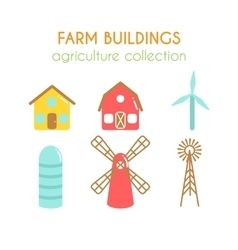 Farm buildings farmer house and vector