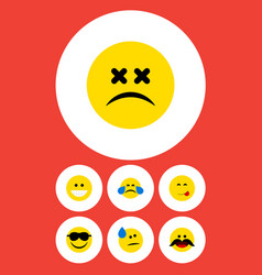 Flat icon gesture set of tears grin cold sweat vector
