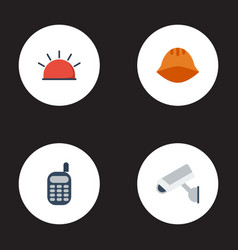 Flat icons camera hardhat walkie-talkie and vector