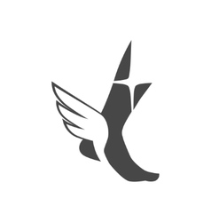 Foot with wings vector
