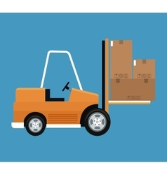 Forklift truck cardboard boxes delivery concept vector