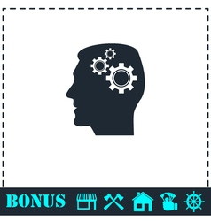 Gear head icon flat vector