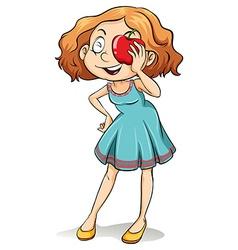 Girl with an apple vector