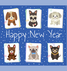 Happy new year pets poster vector
