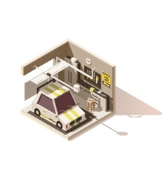 isometric low poly garage icon vector image vector image