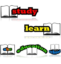 Learning with a book vector image