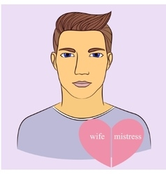 Man with wife and mistress in heart vector image vector image