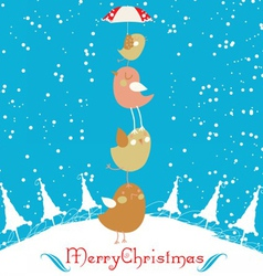 merry christmas card with christmas bird vector image