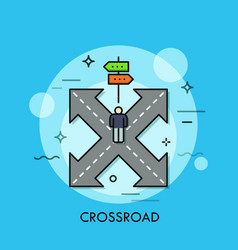 person standing on crossroad in front of double vector image