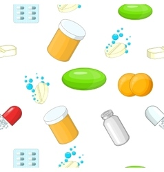 Pills pattern cartoon style vector