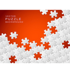 red background made from white puzzle pieces vector image