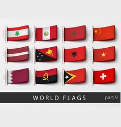 set of flag labels vector image