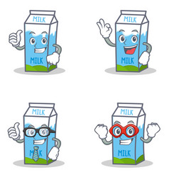 Set of milk box character with okay proud vector