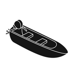 small metal boat with motor for fishingboat for vector image vector image