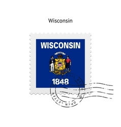 State of wisconsin flag postage stamp vector