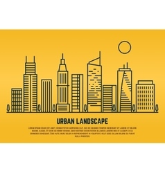 Urban landscape in line style vector
