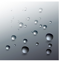 Water drops on a gray background round raindrops vector