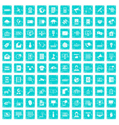 100 telecommunication icons set grunge blue vector