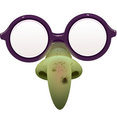 Witch mask for masquerade glasses and green nose vector