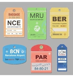 Vintage travel luggage tags vector image