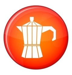 Steel retro coffee pot icon flat style vector