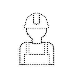 Worker sign black dashed icon on white vector