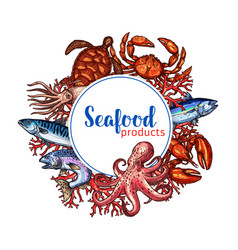 Seafood restaurant poster sketch design vector