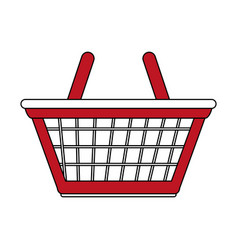 color silhouette cartoon red shopping basket with vector image