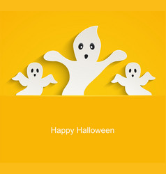 Halloween yellow background with scary ghosts vector