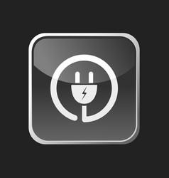 plug icon on grey square button vector image